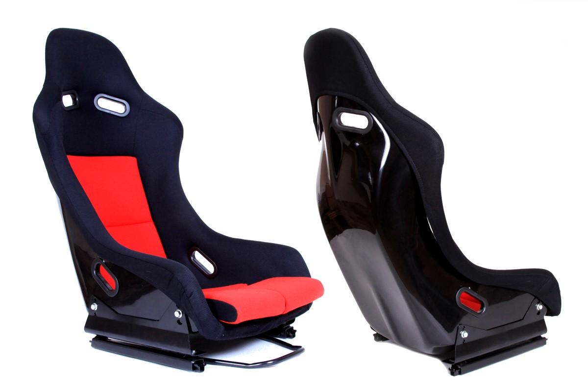 Fotel sportowy GTR Welur Black/Red - GRUBYGARAGE - Sklep Tuningowy